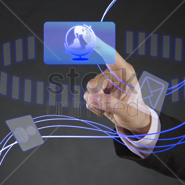index finger pointing at a globe icon stock photo