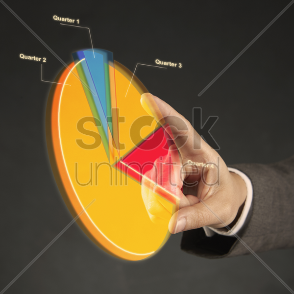 index finger pointing at a pie chart stock photo