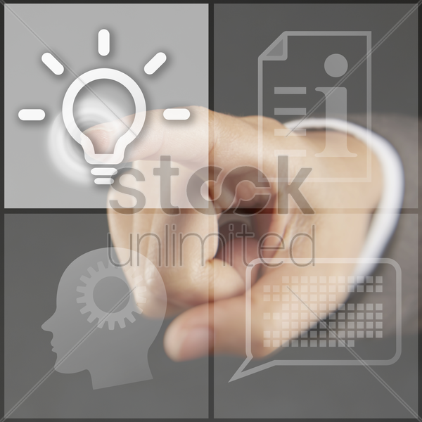 index finger pointing at symbols on a touch screen menu stock photo