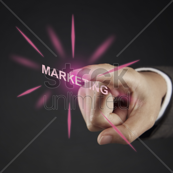index finger pointing at text stock photo