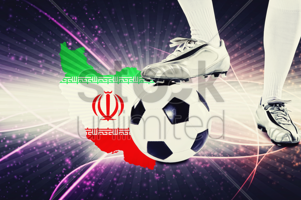 iran soccer player ready for kick off stock photo