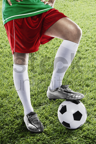 italy soccer player ready for kick off stock photo