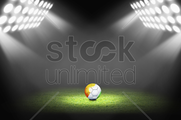ivory coast ball on the soccer field stock photo