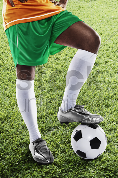 ivory coast soccer player ready for kick off stock photo