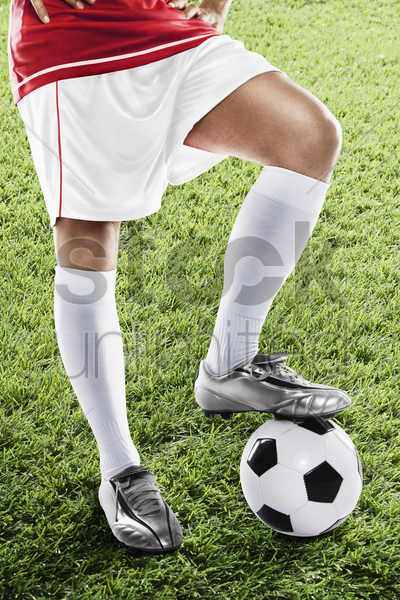 japan soccer player ready for kick off stock photo