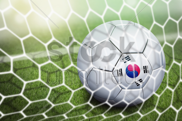 korea republic soccer ball in goal net stock photo
