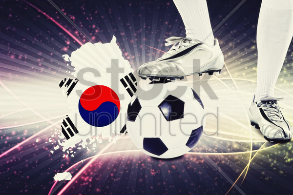 korea republic soccer player ready for kick off stock photo