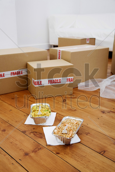 lunch and boxes on the floor stock photo
