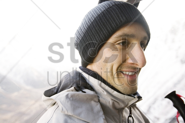 male skier smiling stock photo