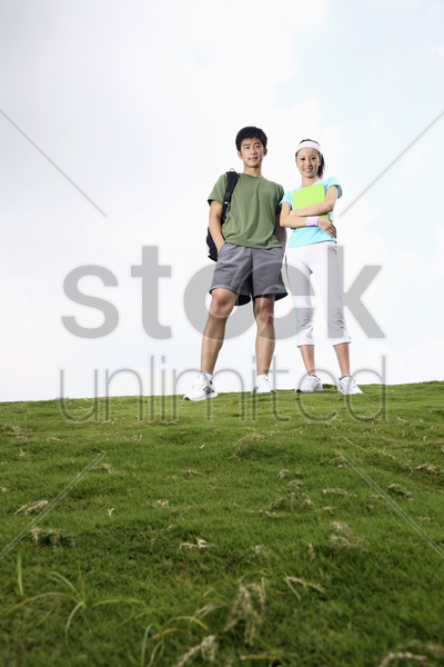 man and woman posing stock photo