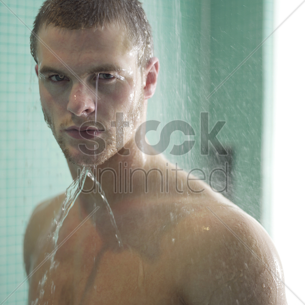 man enjoying his shower time stock photo