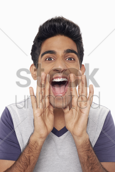 man gesturing and shouting stock photo