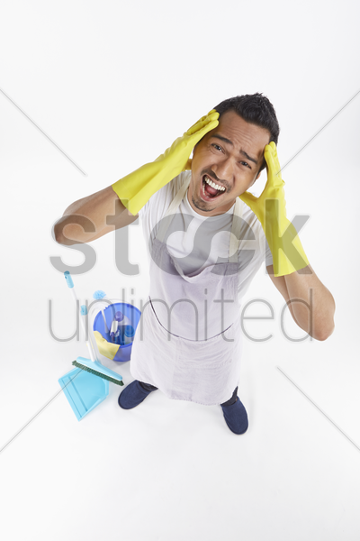 man looking very stressed stock photo