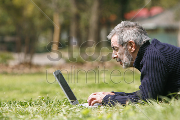 man lying on the grass using laptop stock photo