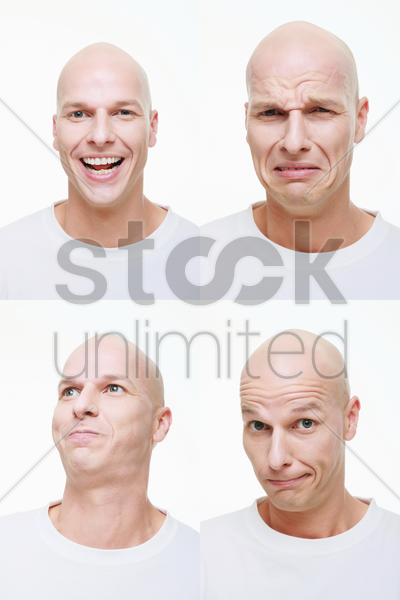 man making a series of exaggerated faces for the camera stock photo