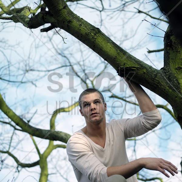 man posing beside a tree stock photo