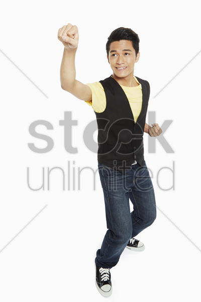 man showing a punching gesture stock photo