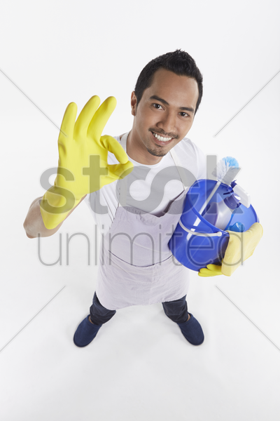 man showing hand gesture stock photo