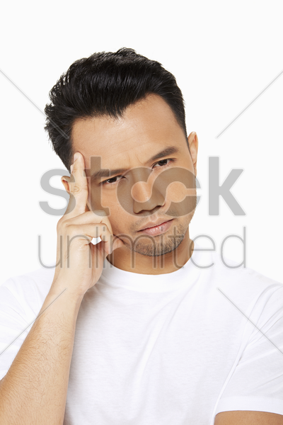 man thinking and contemplating stock photo