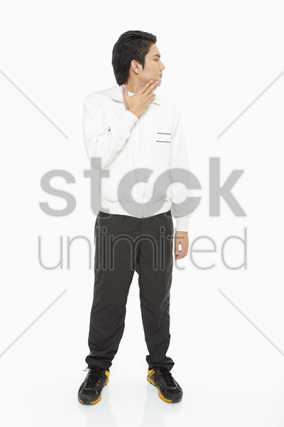 man turning head to the left stock photo