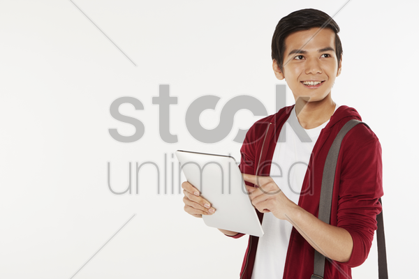 man using a digital tablet stock photo