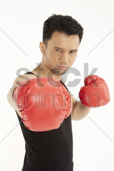 man wearing boxing gloves stock photo