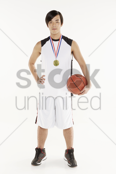man with a gold medal stock photo