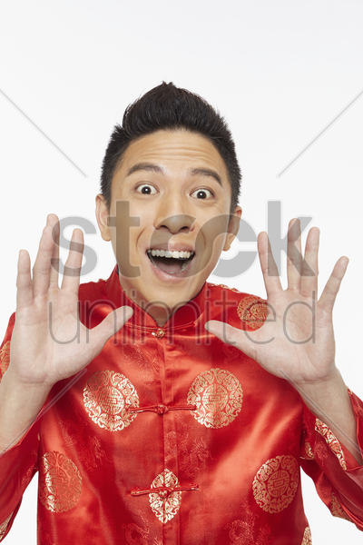 man with a surprised facial expression stock photo