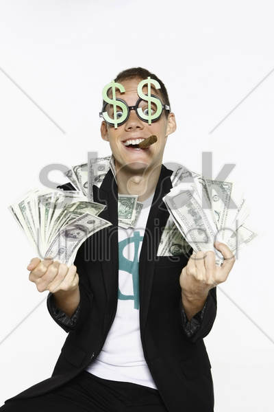 man with bank notes stock photo
