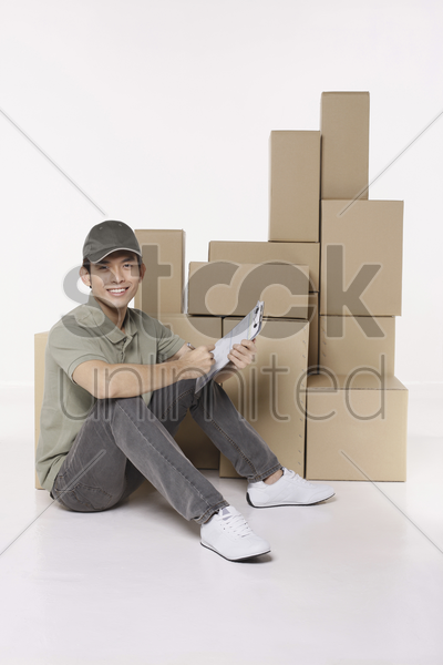 man with checklist stock photo
