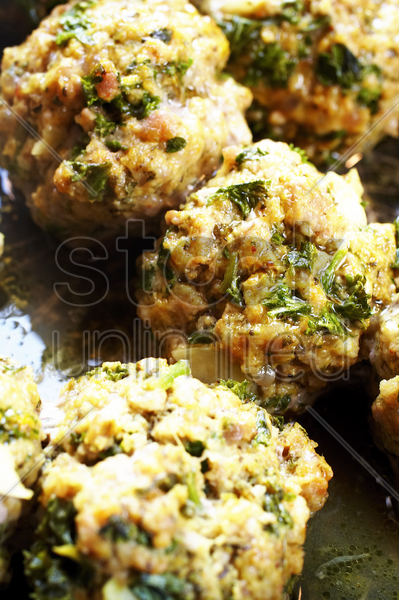 meatballs with herbs stock photo