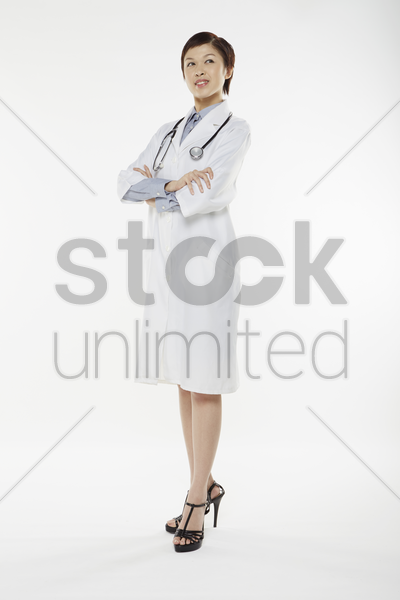medical personnel smiling at the camera stock photo