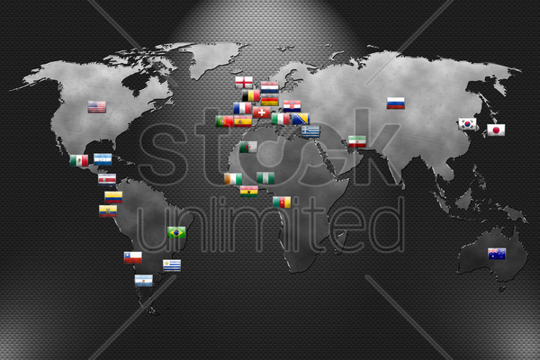 metal plate with world map and soccer team stock photo