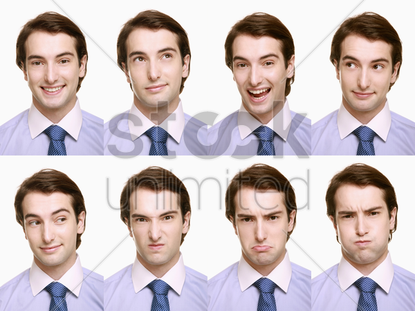 montage of businessman pulling different expressions stock photo