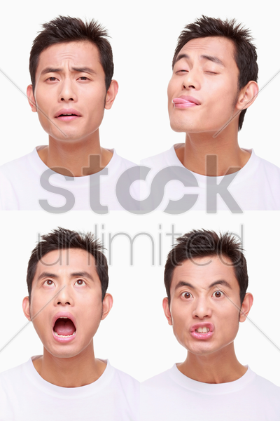 montage of man pulling different expressions stock photo