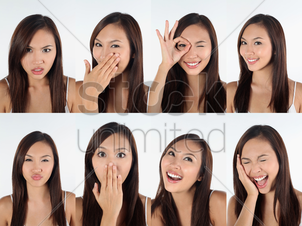 montage of woman pulling different expressions stock photo