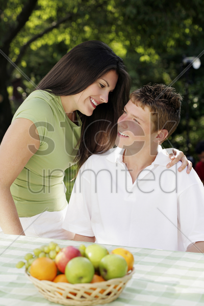 mother and son spending time together stock photo