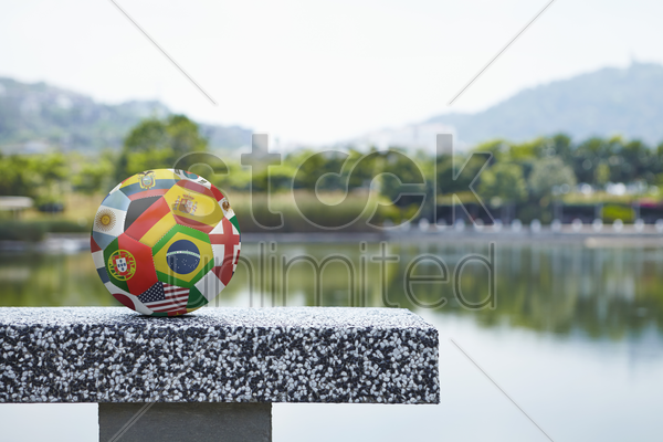 national flags on a soccer ball stock photo