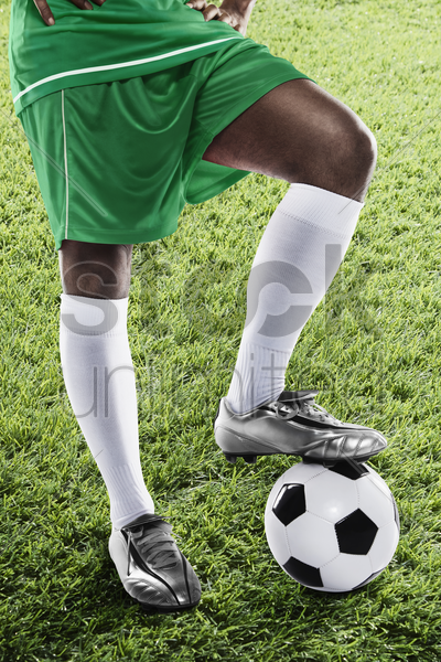 nigeria soccer player ready for kick off stock photo