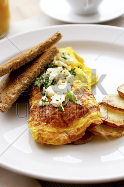 omelette with cream cheese stock photo
