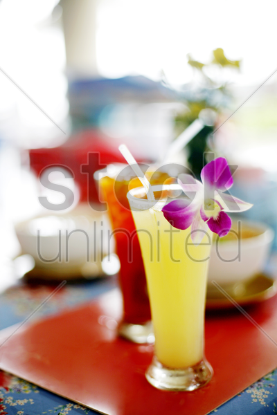 orange juice and ice lemon tea stock photo