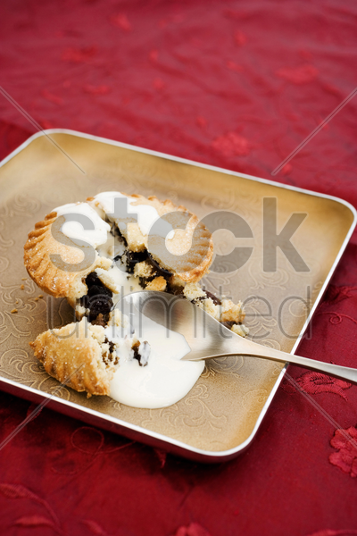 pastry on a plate stock photo
