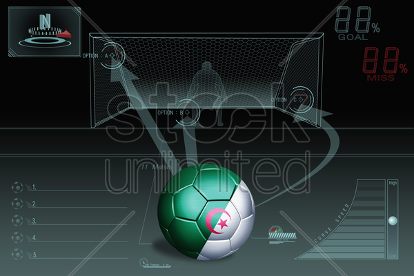 penalty kick infographic with algeria soccer ball stock photo