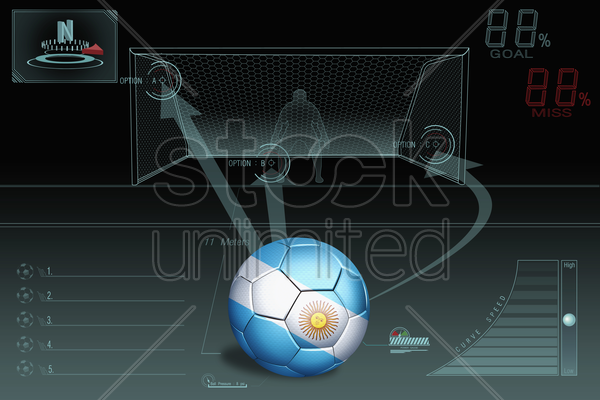penalty kick infographic with argentina soccer ball stock photo
