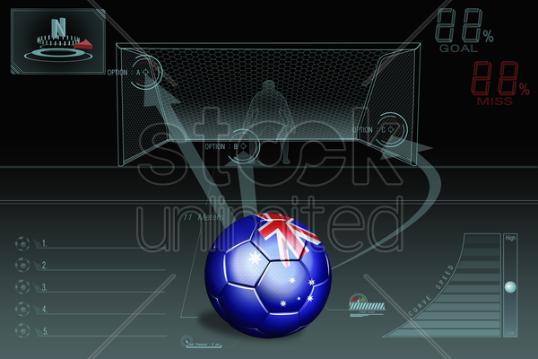 penalty kick infographic with australia soccer ball stock photo
