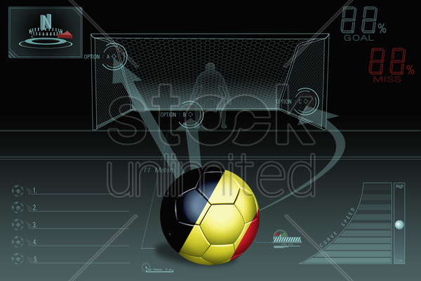 penalty kick infographic with belgium soccer ball stock photo
