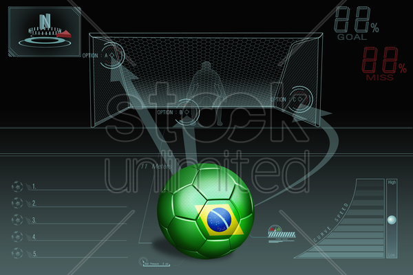 penalty kick infographic with brazil soccer ball stock photo