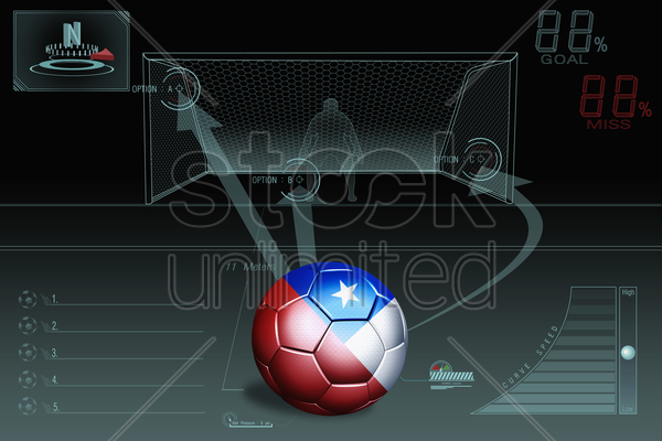 penalty kick infographic with chile soccer ball stock photo