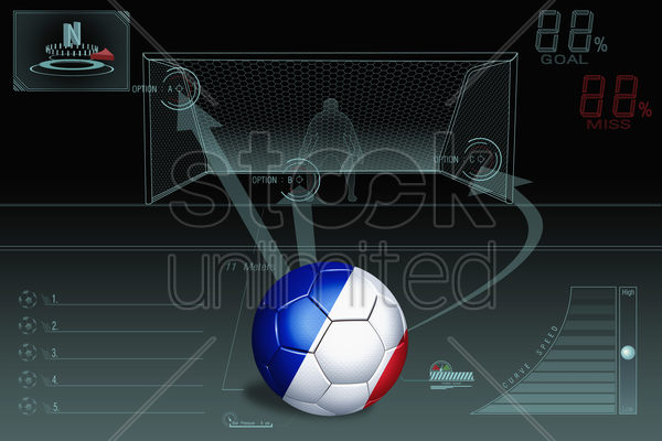 penalty kick infographic with france soccer ball stock photo