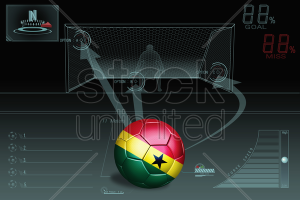 penalty kick infographic with ghana soccer ball stock photo